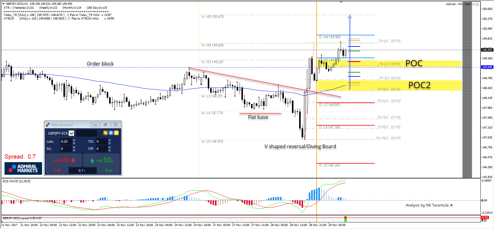 GBP/JPY Diving Board Reversal Pattern Targeting D H4 and W L5 Camarilla Levels