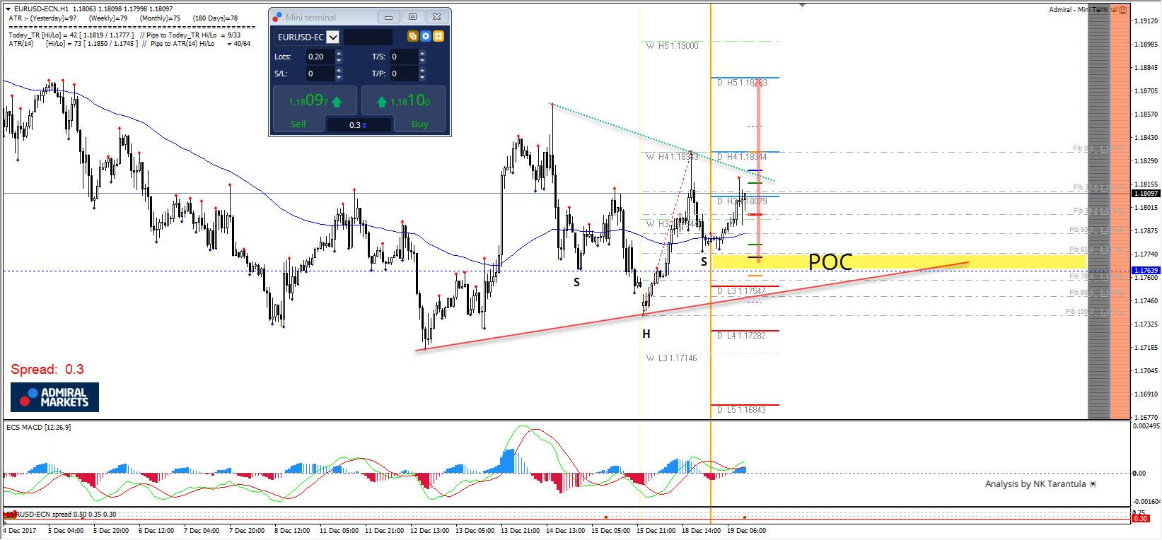 EUR/USD Bullish SHS Pattern Close to D L3 Camarilla Pivot