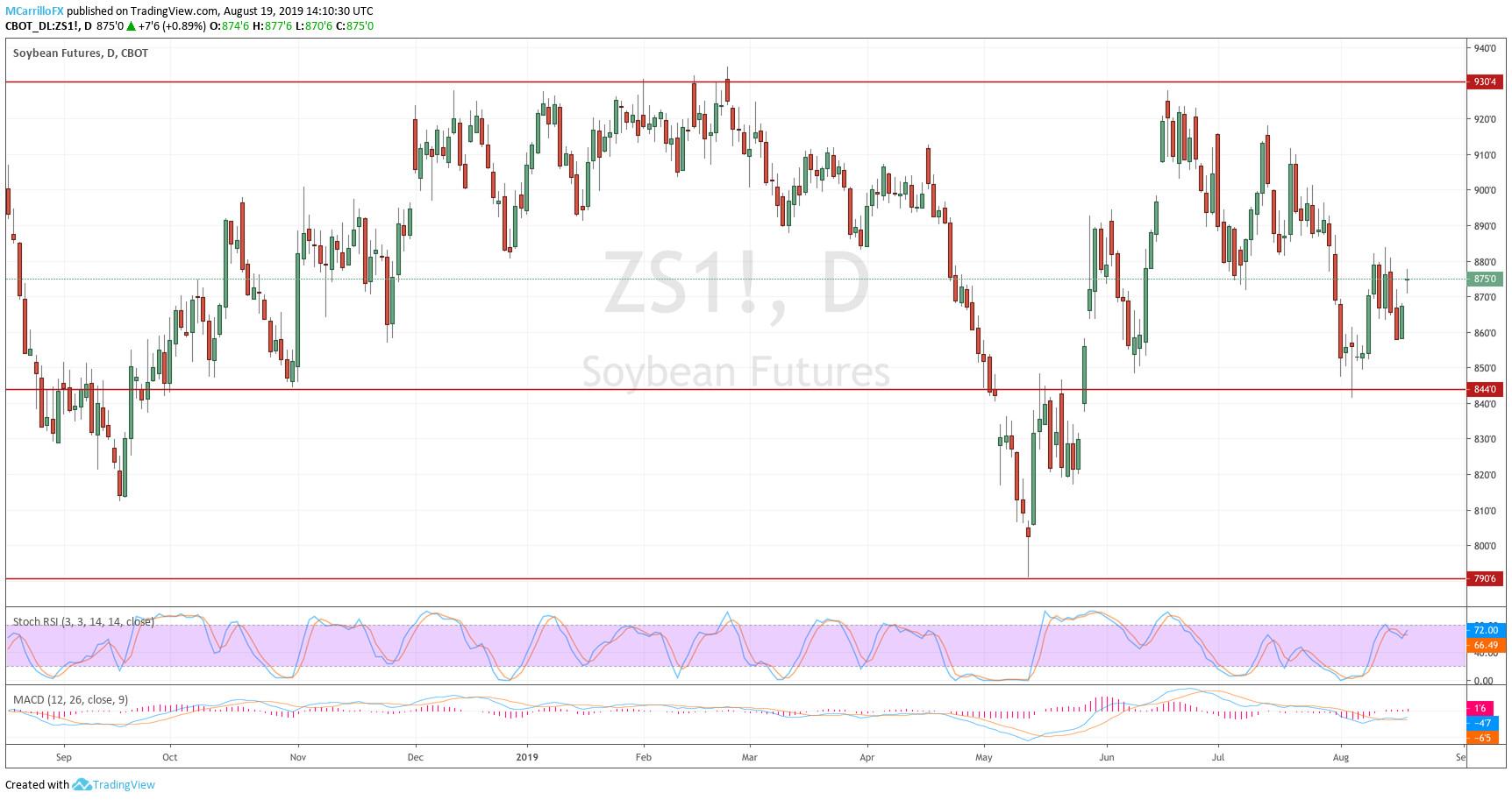 Daily chart for Soybeans August 19