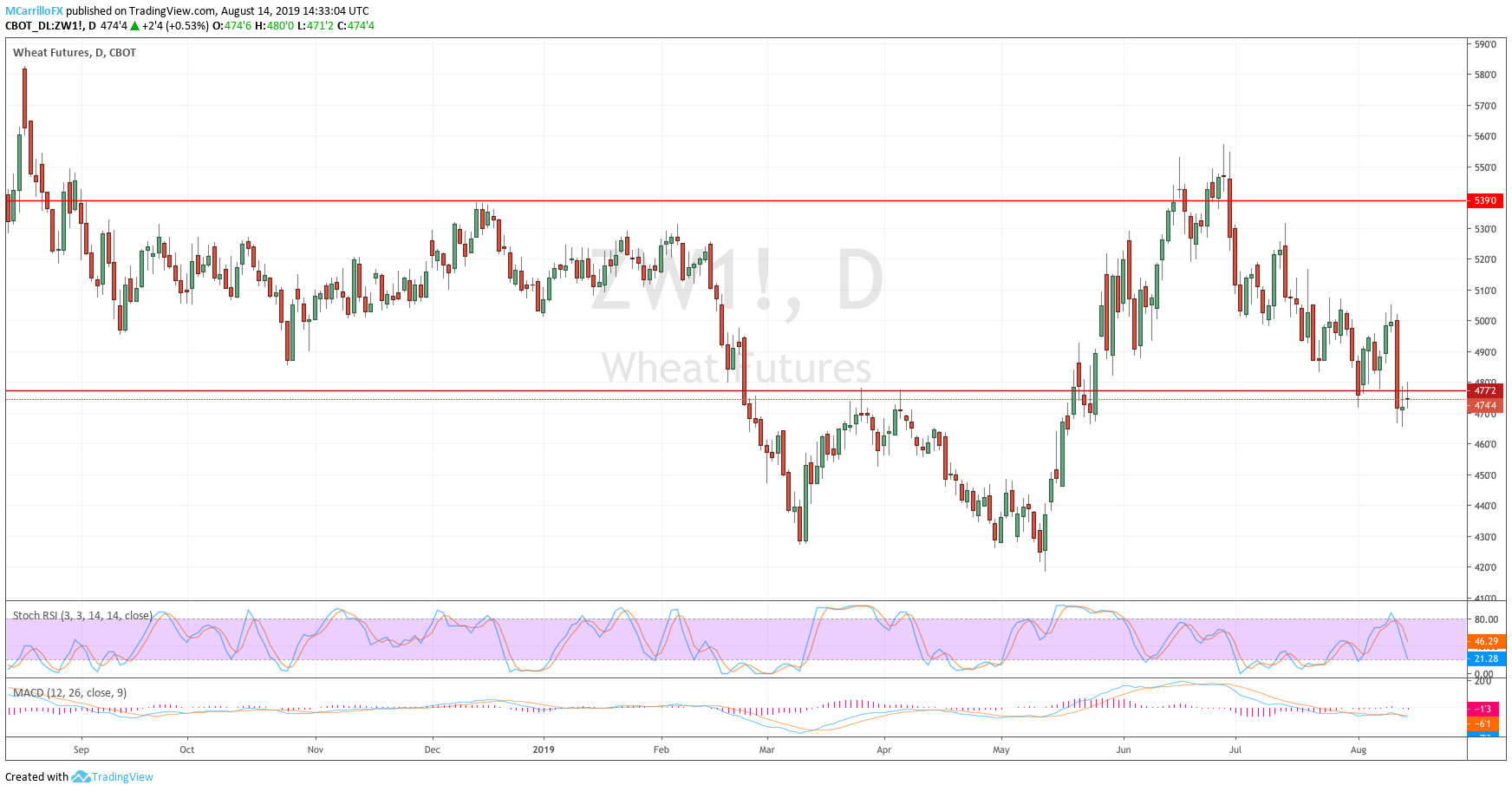 Price of wheat daily chart August 14