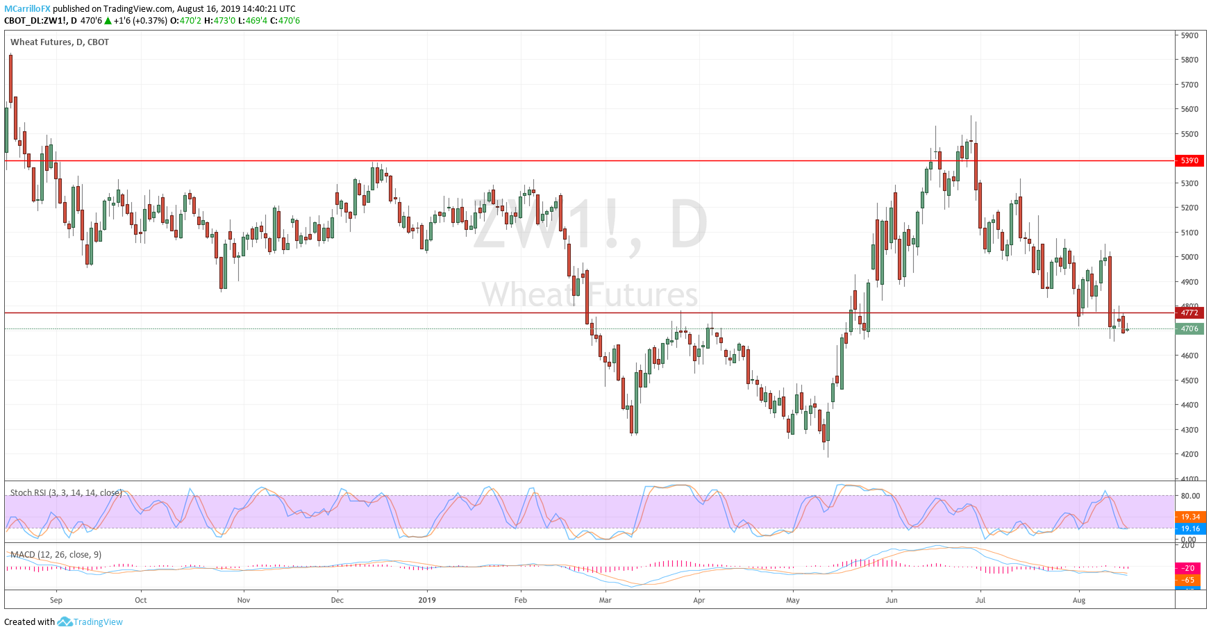 Prices of Wheat daily chart August 16