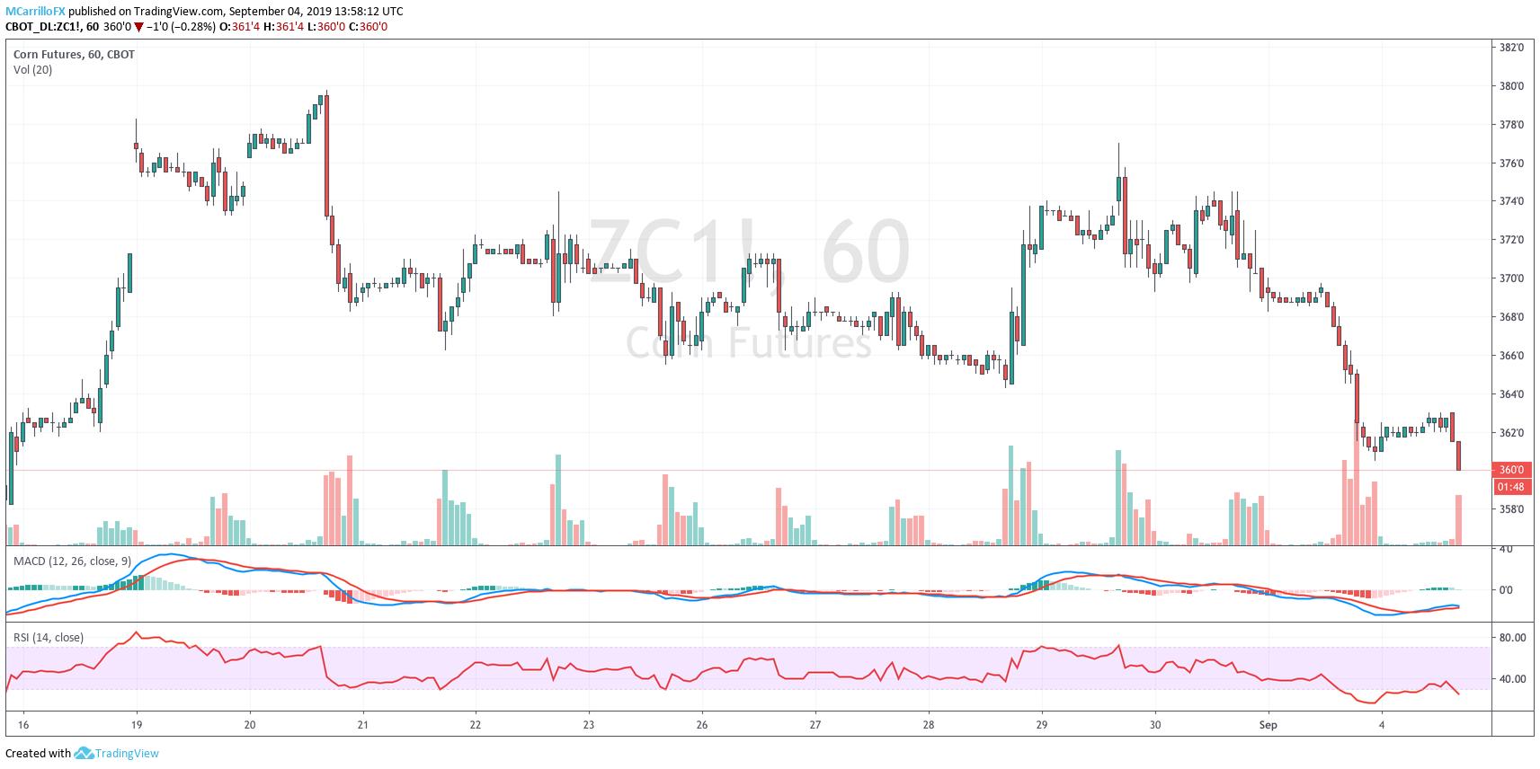 ZC1 Corn futures 1-hour chart September 4