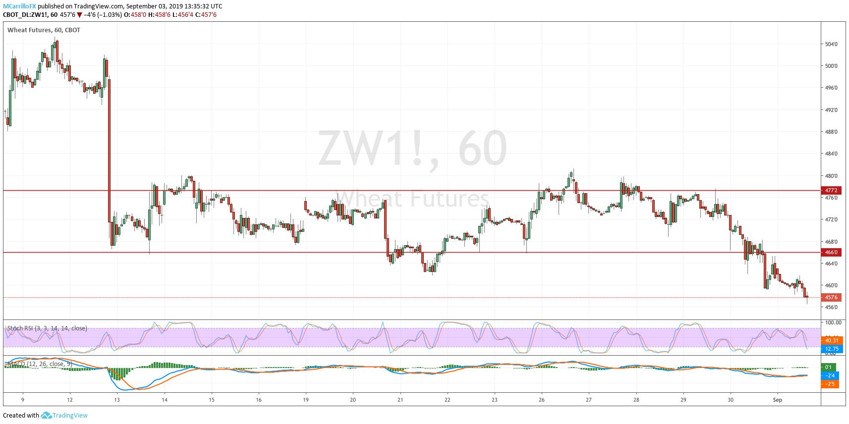 ZW1 Wheat 1-hour chart September 3