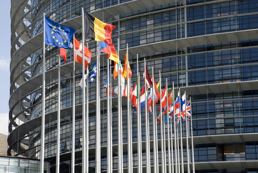 Europarliament. Flags of the countries of the European Union.