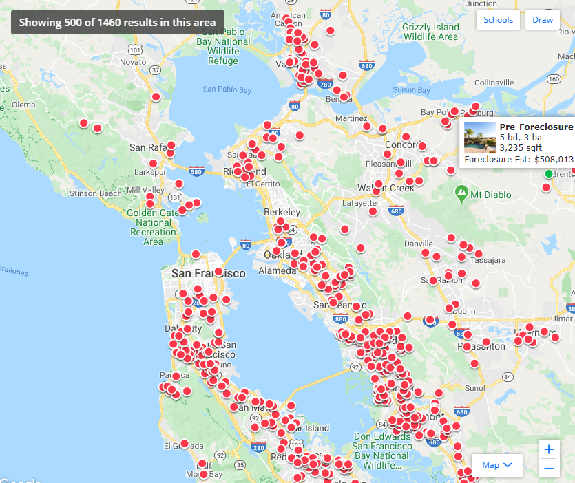Current San Francisco Foreclosure Map