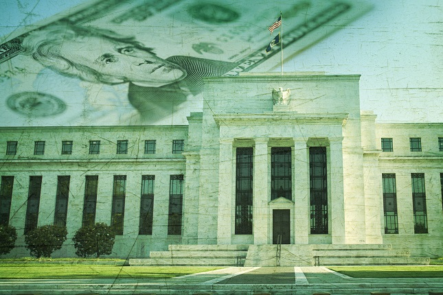 Federal Reserve building with twenty dollar bill on grunge texture